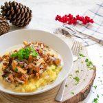 Herbstliche Pfifferlingspfanne mit cremiger Polenta - vegan, rein pflanzloch, glutenfrei, laktosefrei - www.mindful-living-diary.de