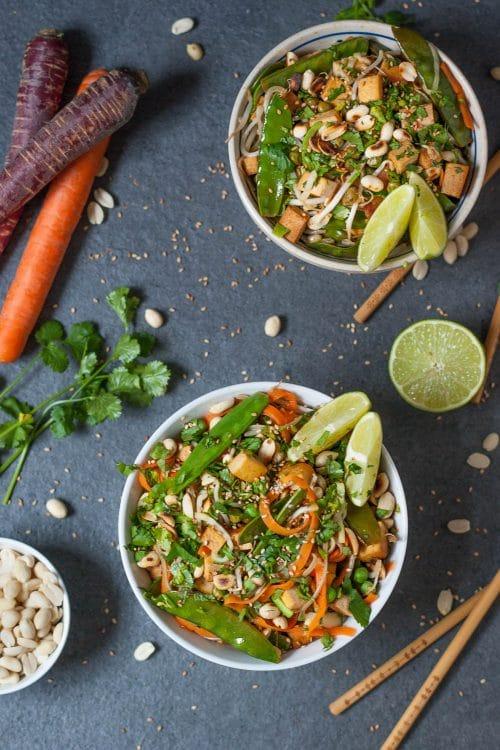Pad Thai mit Gemüsenudeln - vegan, rein pflanzlich, glutenfrei, low carb - www.appleandginger.de