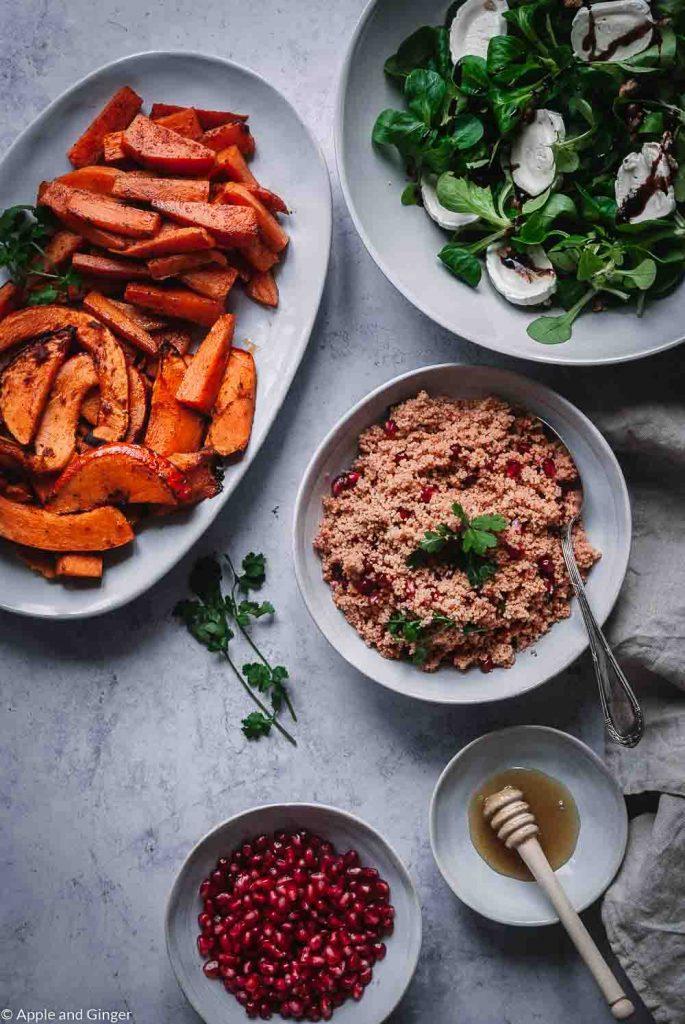 Orientalischer Couscous Salat mit Ofengemüse – Essen für schöne Haut