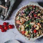 Gemüsequiche von Oben fotografiert
