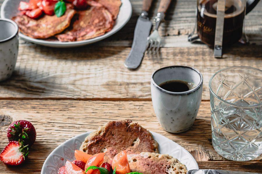 Sauerteig-Pancakes mit Kompott